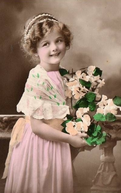 Vintage Images Little Girl tinted photograph