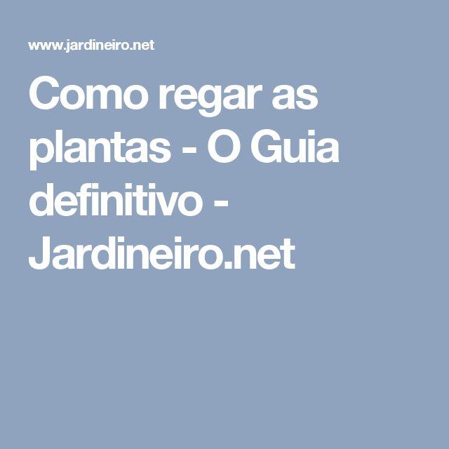 Como regar as plantas - O Guia definitivo - Jardineiro.net