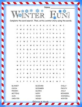 Divine image in winter word search printable free