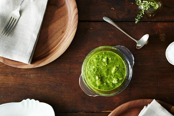 The Silver Palate's Green Sauce recipe on Food52.com  This looks like a strange little sauce with enough different flavors to need to be tried at least once...