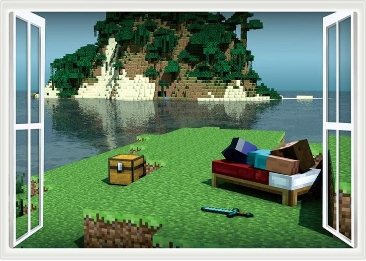 Wall Stickers Online Sale 3d Window Minecraft Wall Stickers For Kids Nursey Home Decoration Steve Lake Decorative Wall Decals For Boys Wall Art Paper 230503368 | Dhgate.Com