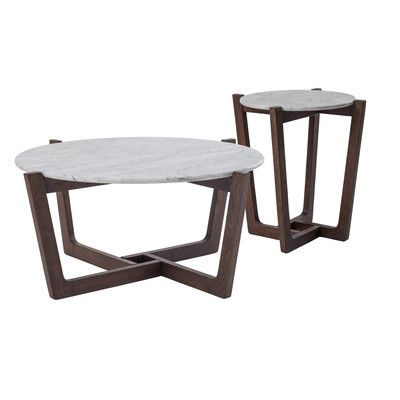Monterey White Marble Coffee & Side Table Set