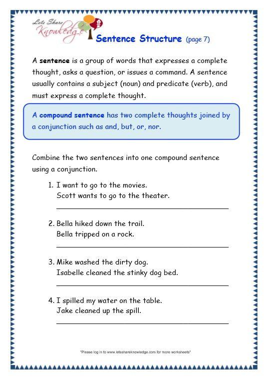 sentence structure worksheet   Sentence structure, Text ...