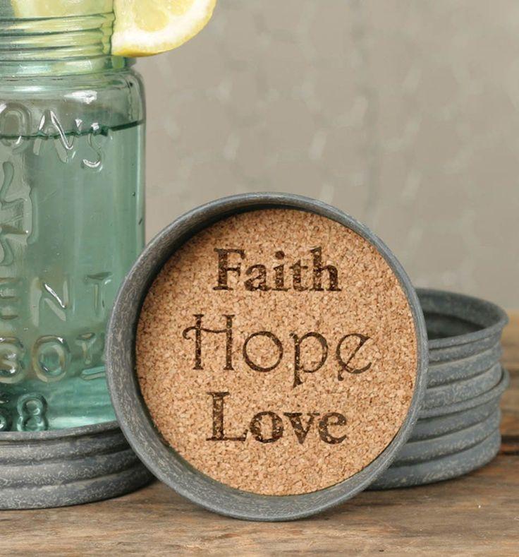 Mason Lid Coaster - Faith Hope Love #DECOR