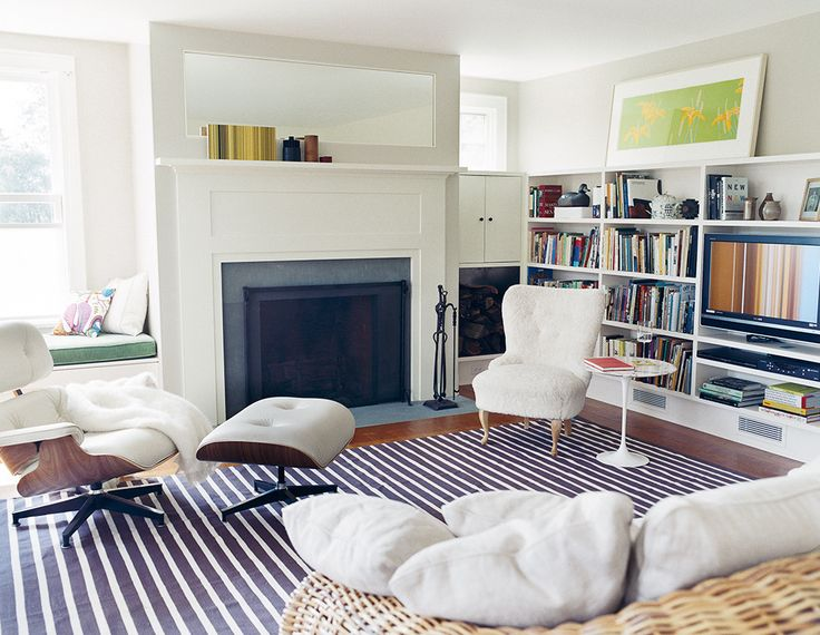 """our favorite living room paint colors on domino.com  """"Moonlight white"""" by Benjamin Moore"""