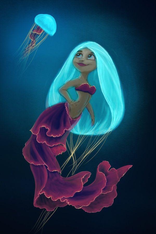 Jellyfish Mermaid by flash-fox1.deviantart.com on @DeviantArt