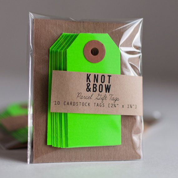 Store | Six By Eight | 10 Neon Green Parcel Gift Tags