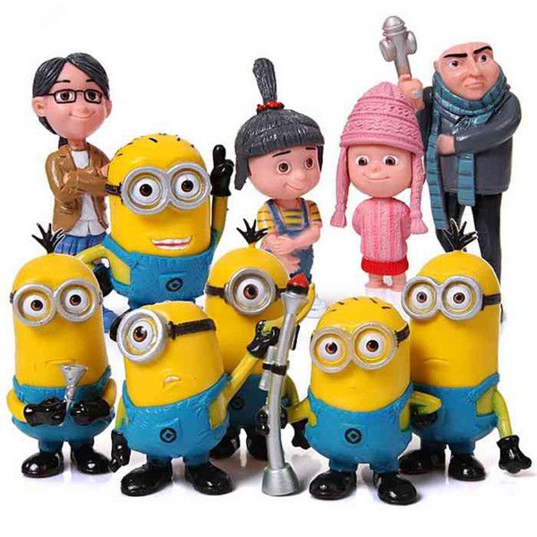 Despicable Me 2 The Minions Family Garage Kits PVC Toys Model Toys 10pcs Lot 2.0-3.5inch