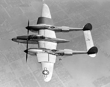 P-38E Lightning aircraft with experimental wings, southern California, United States, 1943