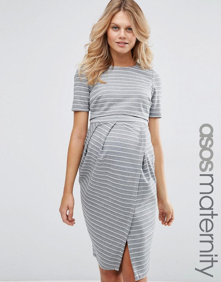 Image 1 ofASOS Maternity Wiggle Dress With Double Layer In Stripe