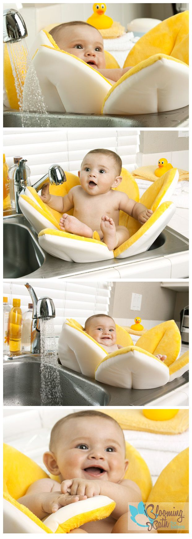 The Blooming Bath for babies is loved by parents and babies around the world. Why would anyone want to bathe their baby in a hard plastic tub when they could surround their little one in the cuddly softness of an adorable plush flower?!  The best way to bathe your baby, and a perfect baby shower gift.  Available in lots of bright colors!