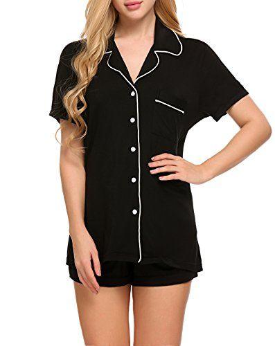 34a45e7719 etuoji Women 2 Pieces Short Pajama Set V-Neck Shirt and Elastic Knickers  Sleepwear