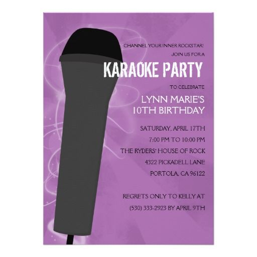 Best Karaoke Birthday Party Invitations Images On Pinterest - Birthday invitation karaoke