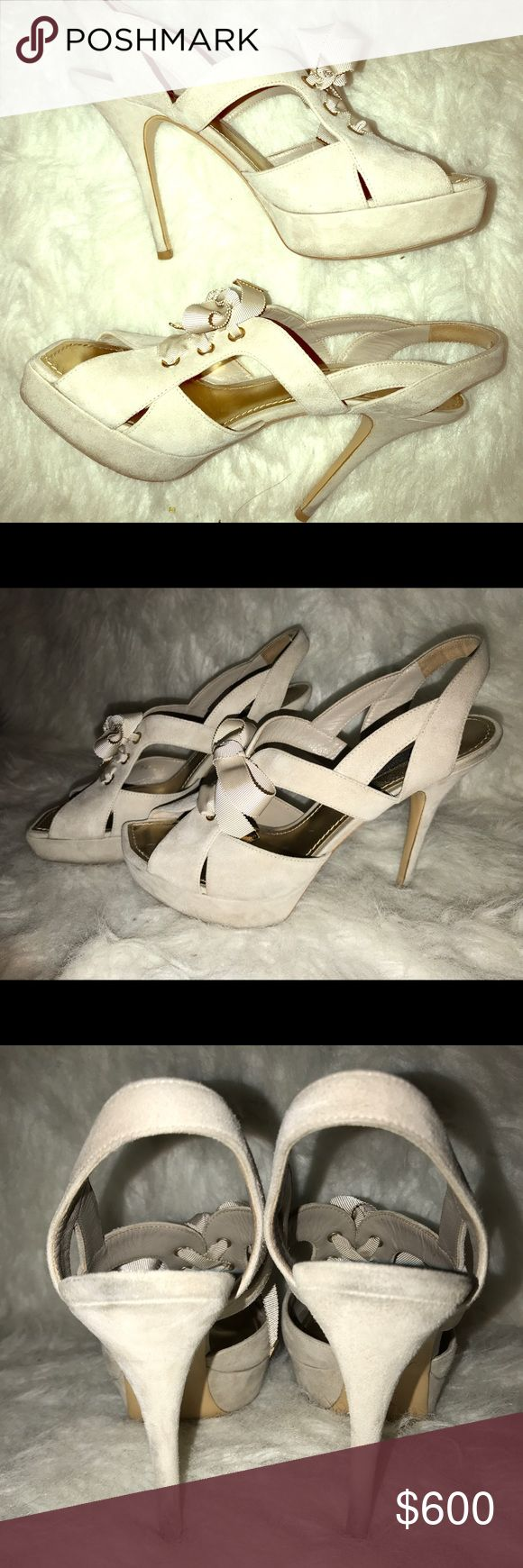 Louis Vuitton Beige Cream Suede Heels Size 38 These Louis Vuitton heels are in excellent used condition. Please feel free to reach out with any questions. Thank you! Louis Vuitton Shoes Heels