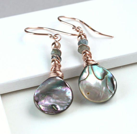 Abalone  Earrings Rose  Gold Jewelry Shell  Gold Earrings