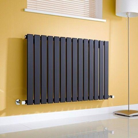 Milano Alpha Slim Single Panel Horizontal Designer Radiator - http://www.bestheating.com/milano-alpha-black-horizontal-single-slim-panel-designer-radiator-635mm-x-980mm.html