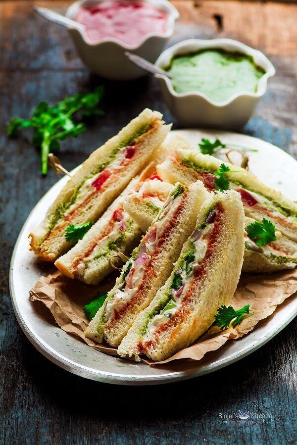 Cream Cheese Sandwich - Binjal's VEG Kitchen