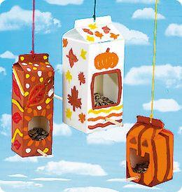 Upcycle milk cartons to bird feeders