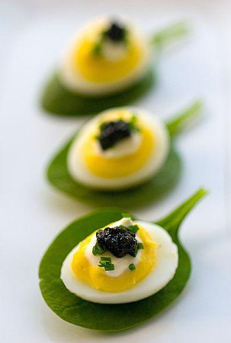 Deviled quail eggs with caviar and creme fraiche | Flickr - Photo Sharing!
