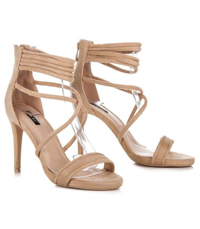 Béžové sandále na podpätku 5070-14BE