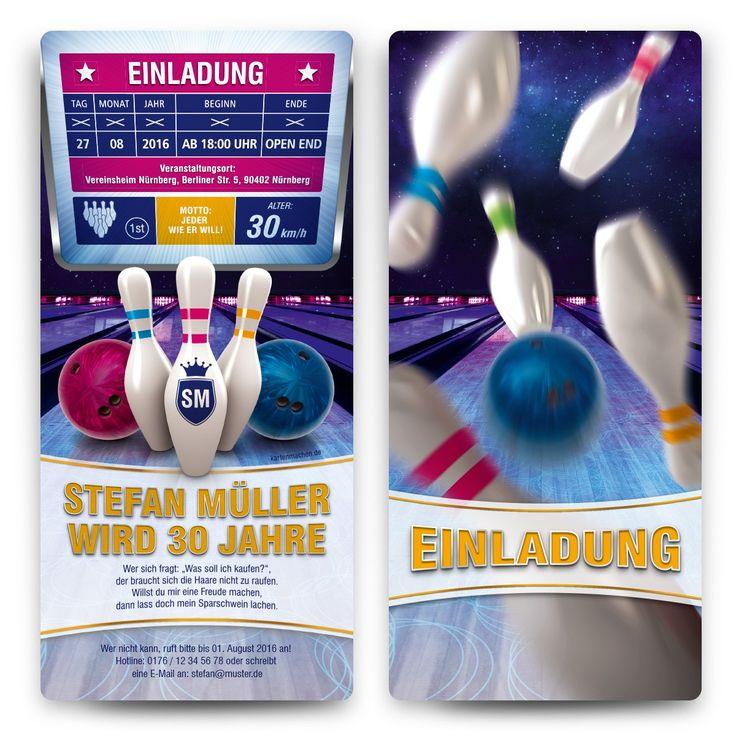 einladungskarten - bowling #geburtstag #einladung #
