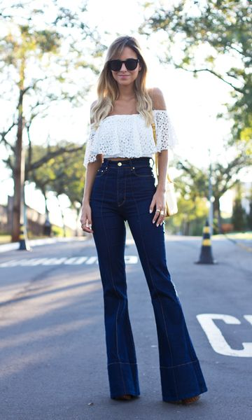 perfect high waisted boot cut and a lace boho top