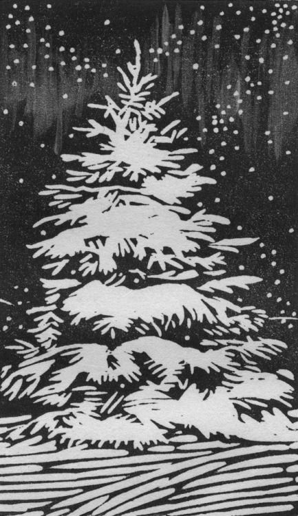 A beautiful woodcut of a winter scene graces the front of Herr Thiessen's Christmas card. Simple in his tastes, and myriad in his crafting talents, I wouldn't be surprised to know that he carved the block by hand and printed the missives himself.