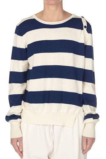 stripe button detail knit natural / navy | bassike