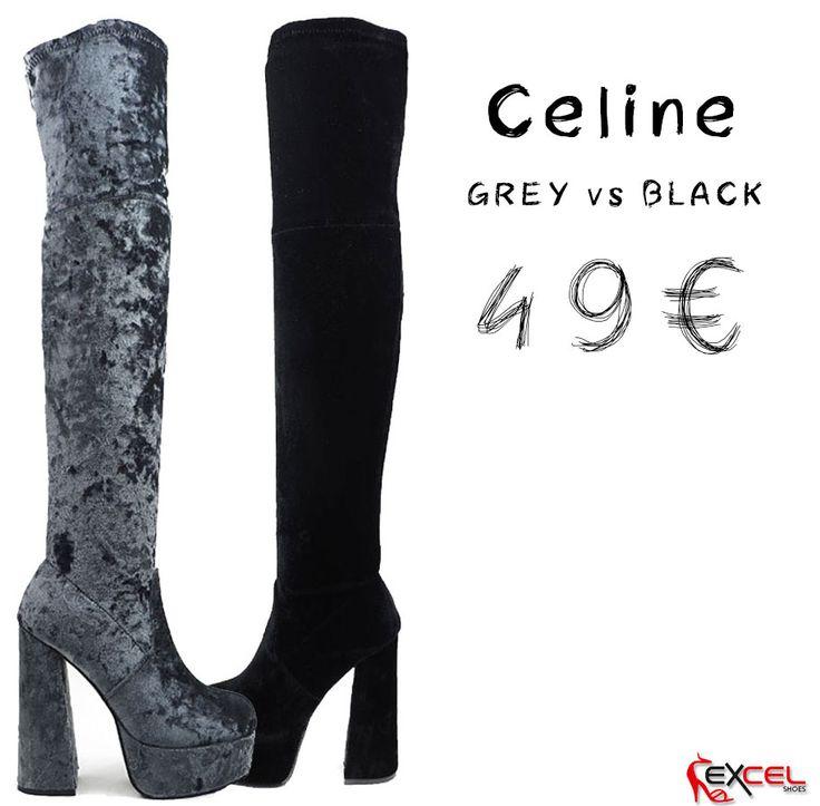 👌 Thigh high: Είναι σέξι, έχουν στυλ και είναι τάση!  👢 Οι μπότες βελούδο πάνω από το γόνατο είναι hot! 📣 Celine 597 Μαύρο - Γκρι ➡ Super Offer 49€ 🎁 +ΔΩΡΟ για σένα Τσόκερ Λαιμού - Το φετινό αγαπημένο σου κόσμημα!  ❤ Εγνατία 30 Α & Εγνατία 31 // Θεσ/νίκη ☎ Τηλ. Παραγγελίες 2310 521560 & 2310 521580