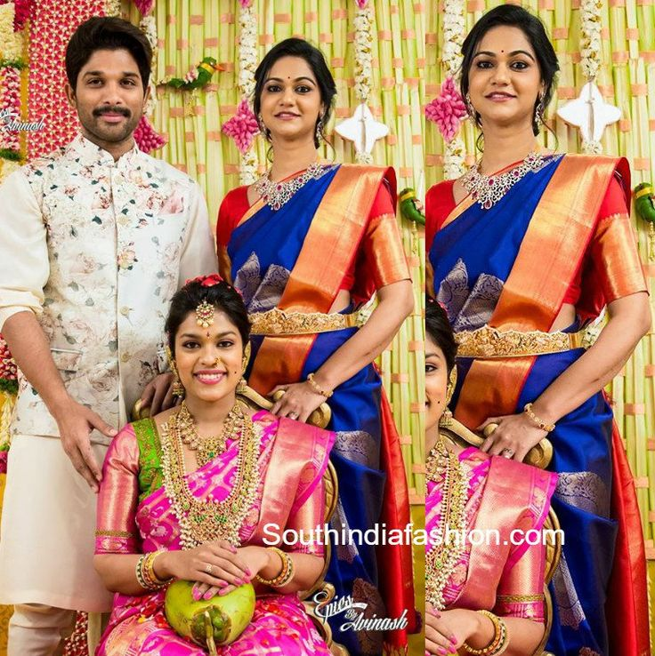 At Srija's Bride Making Ceremony, Sneha Reddy was seen in a blue kanchipuram saree that has gold zari border paired with contrast red elbow length sleeves blouse. Diamond necklace set and diamond vaddanam completed her festive look. She looked gorgeous! Allu Arjun was dressed in an ethnic floral suit. The couple looked lovely!! Related PostsSneha …