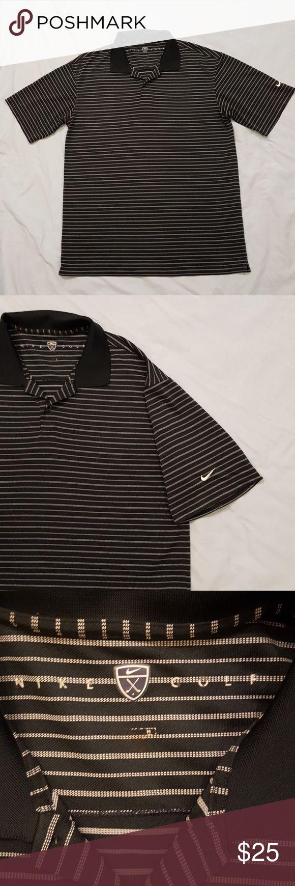 Nike polo shirt Black and white striped golf shirt, black collar Nike Shirts Polos