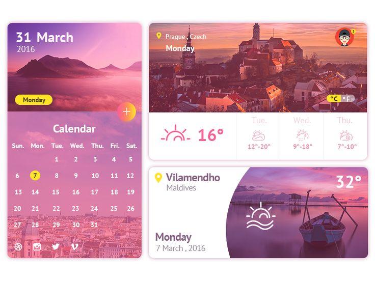 Weather Calendar Widget UI by Xu