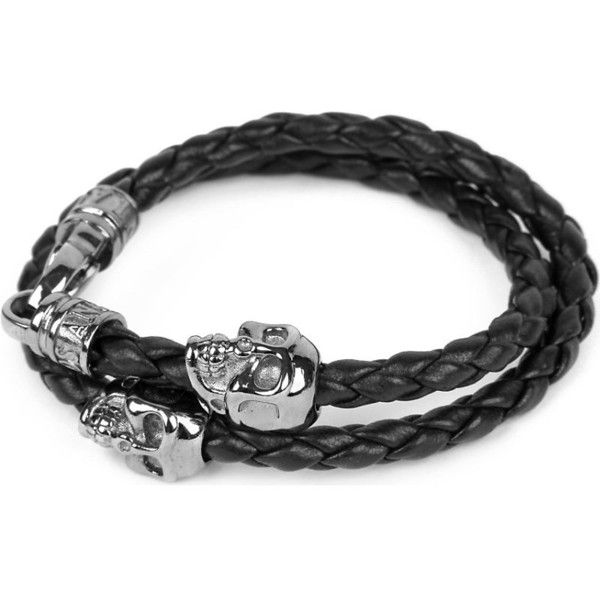 Nialaya Braided leather and skull bracelet ($385) ❤ liked on Polyvore featuring men's fashion, men's jewelry, men's bracelets, mens leather braided bracelets, mens skull bracelets and mens leather bracele