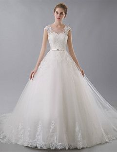 Ball+Gown+Wedding+Dress+-+Ivory+Chapel+Train+Jewel+Tulle+–+USD+$+189.99