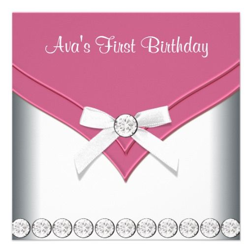 18 best 1st birthday invitations girl images on pinterest birthday pretty pink and white girls birthday party invitation stopboris Image collections
