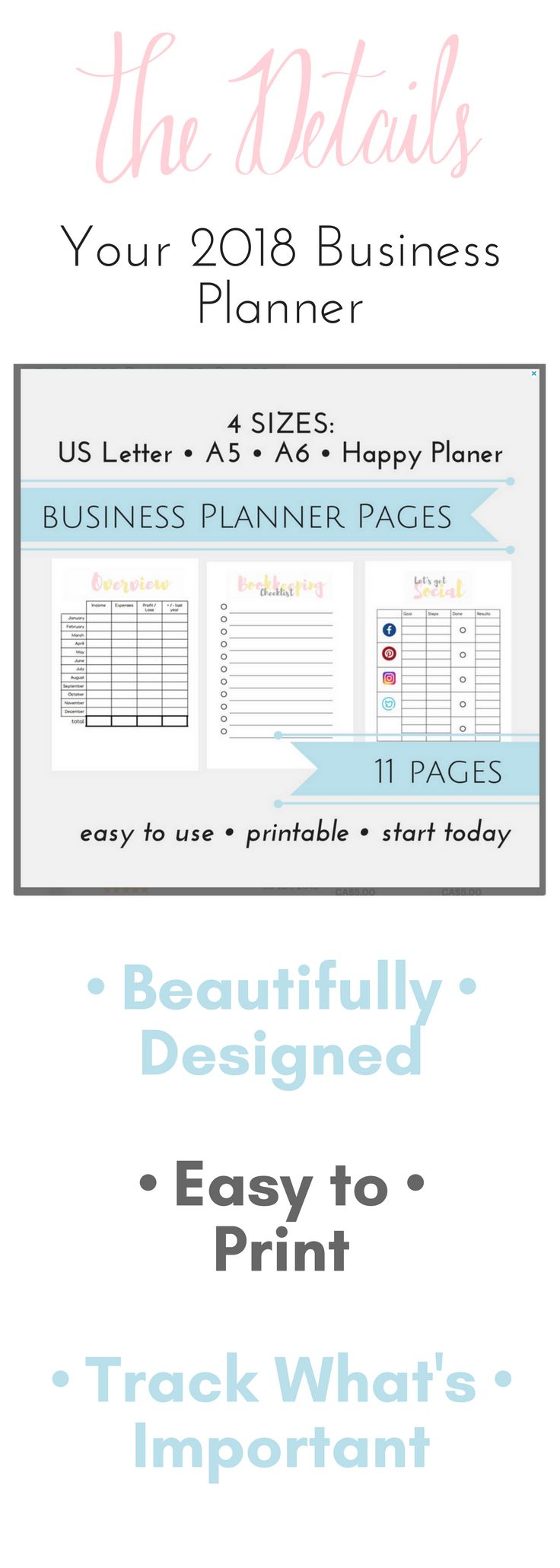 Happy Planner Business Small Business Planner Happy Planner Social Media Tracker Template Business Planner Budget