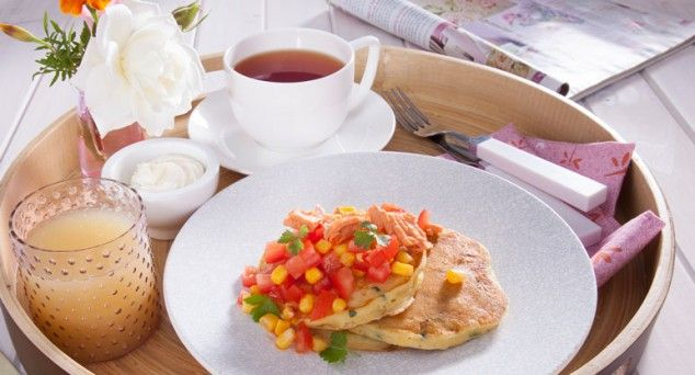Spoil Mum on Mother's Day with these Corn Blinis with Salmon & Tomato Salsa.  #breakfast #blinis #recipe