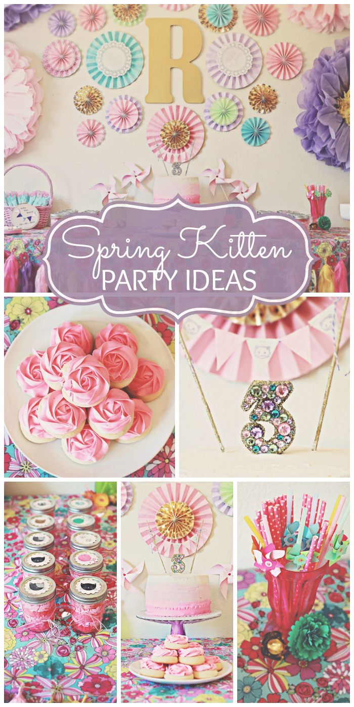 A Spring Kitten girl birthday party with lovely flower decorations and an amazing dessert table!  See more party ideas at CatchMyParty.com!
