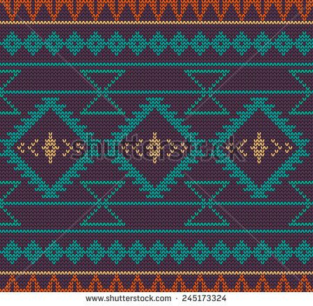 Vector knitted aztec seamless background. Can be used for web pages, identity…