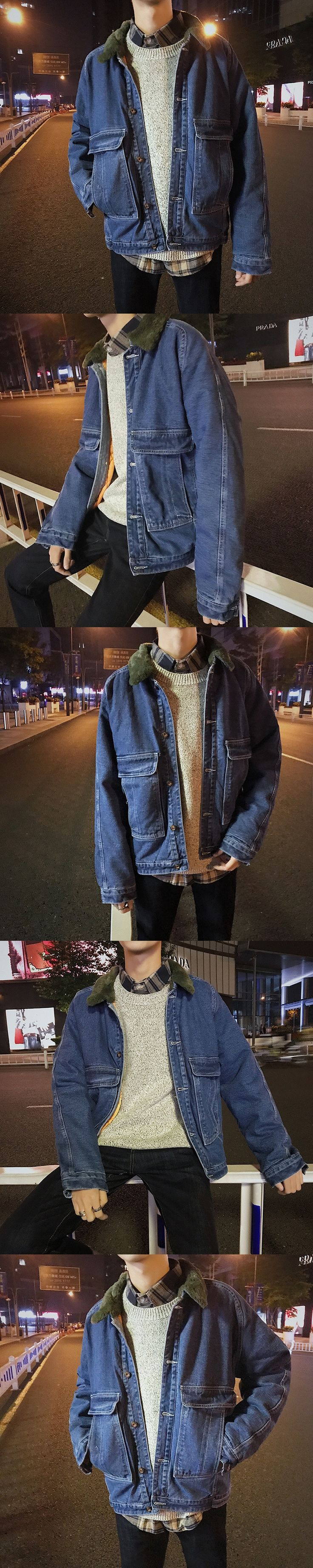 2017 Winter New Men's Fur Collar Thicken Fleece Denim Snow Jackets Loose In Warm Casual High Quality Blue Male Coats S-2xl