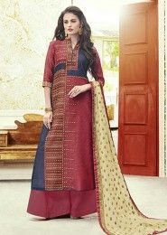 Party Wear Pink Chanderi Printed Plazzo