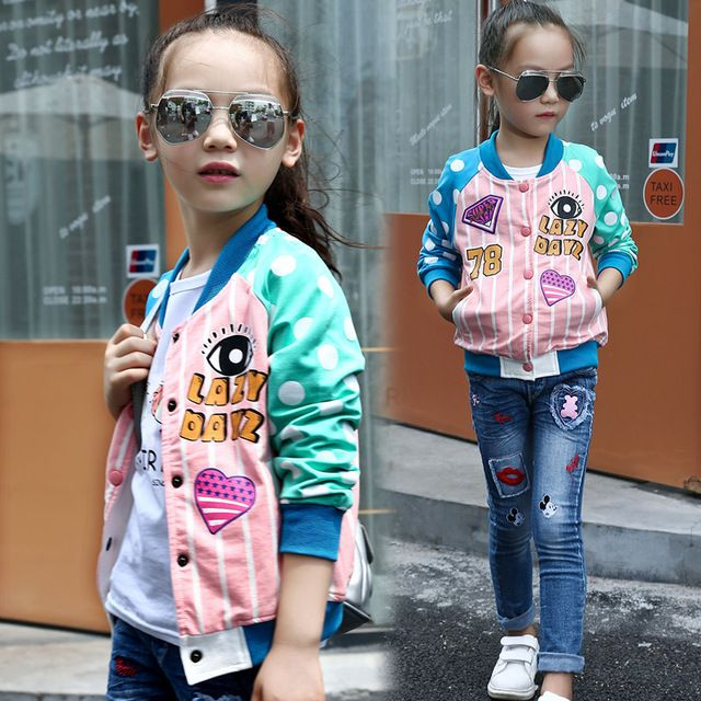 Kids Clothes Girls Jackets and Coats Long Sleeve 2016 Autumn Fashion Girls Clothes Polka Dot O Neck Kids Jackets Girls Outerwear