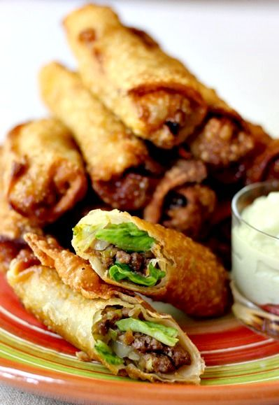 taco egg roll on plate - use the gluten free egg roll recipe for egg roll