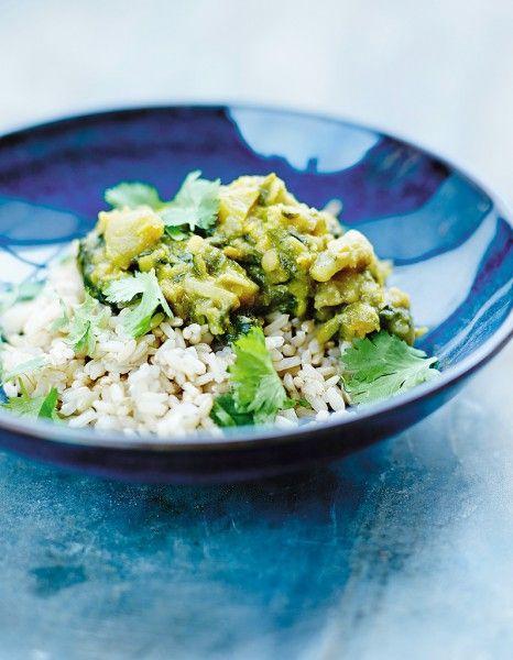 Riz semi-complet, curry d'épinards et de lentilles pour 4 personnes - Recettes Elle à Table - Elle à Table