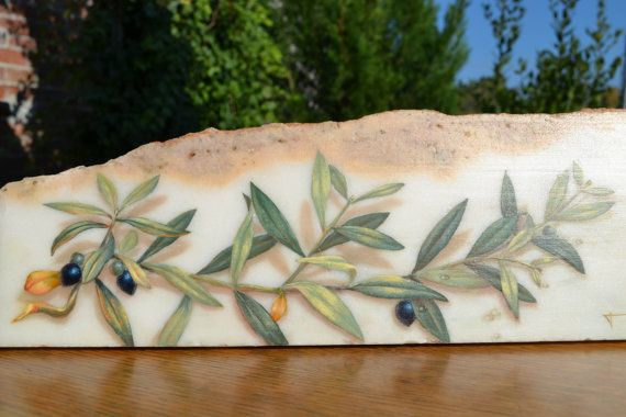 Olive branch on a marble. Oil painting. by Gerodimou on Etsy
