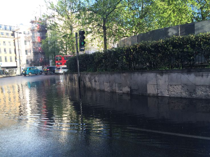 Flooding in London on the South Side of the Duke of Wellington monument.