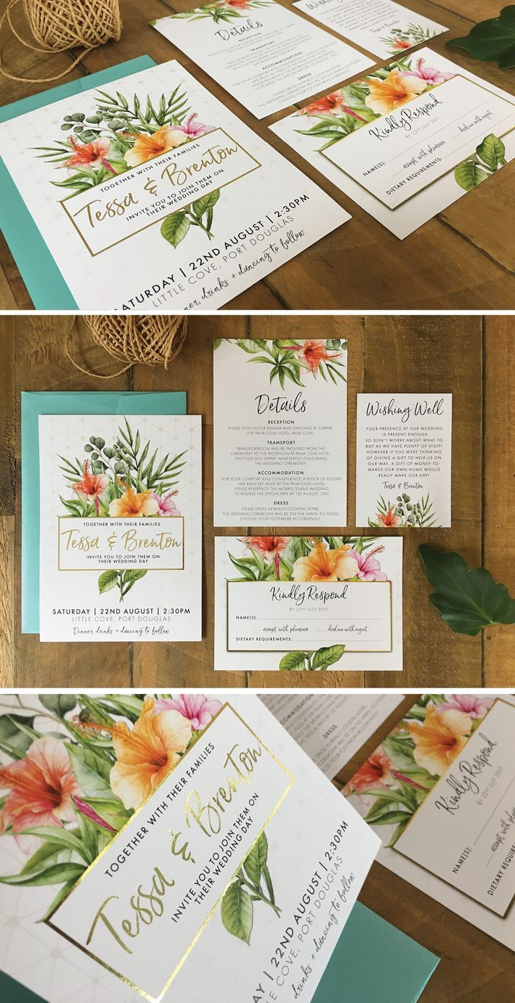 TROPICAL GEOMETRIC WEDDING INVITATION by Frankie Bear Designs. This gorgeous tropical wedding invitation features palm leaves, peach, coral and pink hibiscus flowers and a geometric pattern.