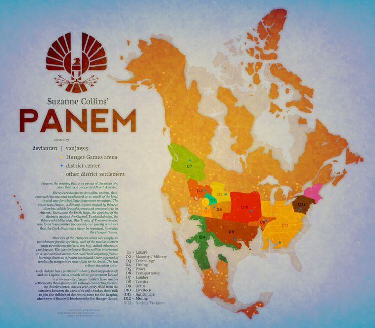 El mapa por distritos de Panem, la Norteamérica de 'Los juegos del hambre':   26 mapas locos de sitios de ficción que te encantaría poder visitar