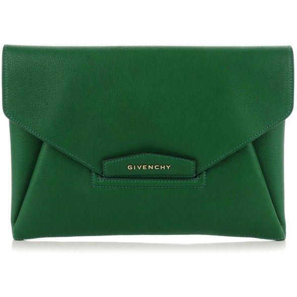 GIVENCHY Sugar Goatskin Medium Antigona Envelope Clutch Emerald Green ❤ liked on Polyvore featuring bags, handbags, clutches, green purse, givenchy handbags, givenchy, envelope clutch bags and green clutches