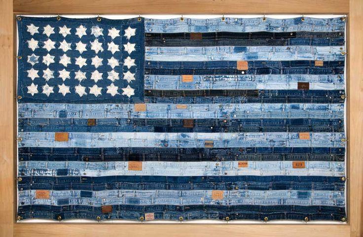 Blue Jeans | Ann Carrington: A Mini-Saia Jeans, Usa Flags, Denim Art, Denimart, Anne Carrington, Blue Jeans Quilts, Stripes, Wood Frames, Woman Jeans